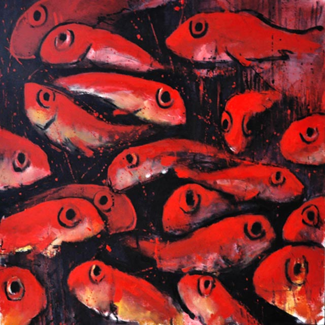 "Red fish II. Oil on canvas, 46"" x 46"". 2011. Private collection."