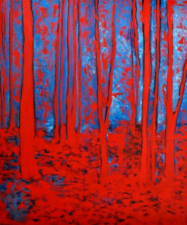 "Red trees. Oil on canvas, 20"" x 24"". 2013. Private collection."