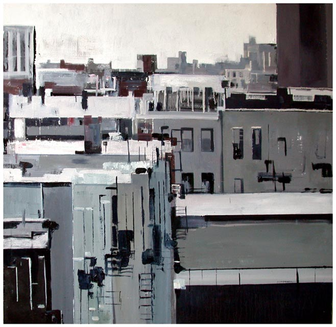 "Roofscape in Queens. Oil on canvas, 48"" x 48"". 2004. Private collection."