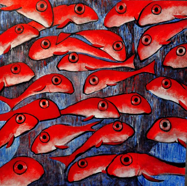 "School of fish. Acrylic on canvas, 48"" x 48' . 2014. Private collection."