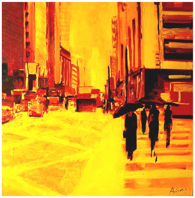 "Summer rain in Manhattan. Oil on canvas, 38"" x 38"".  2003. Private collection."