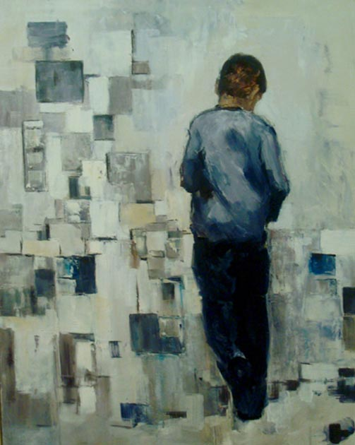 "Thoughts of child. Oil on canvas, 30"" x 40"". 2007. Private collection."