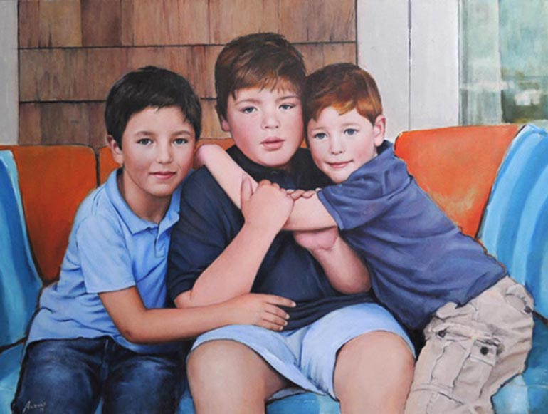 "Three brothers. Oil  on canvas, 36"" x 48"". 2011. Private collection."