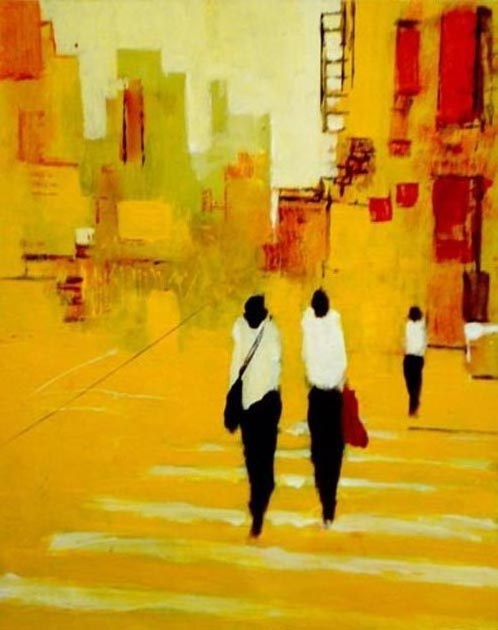 "Three figures crossing on yellow. Acrylic on canvas, 24"" x 30"". 2009. Private collection."