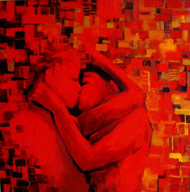 "Un beso. Oil on canvas, 36"" x 36"". 2007. Private collection."