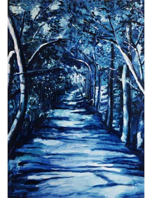 "Vereda azul.. Oil on canvas, 36"" x 52"". 1999. Private collection."