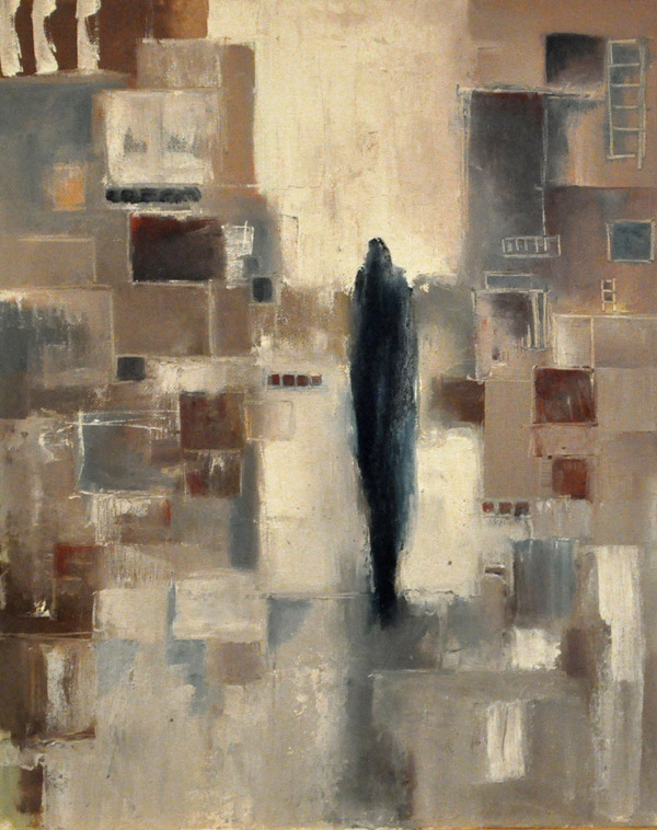 "Walk on warm greys. Oil on canvas, 16"" x 20"". 2015."