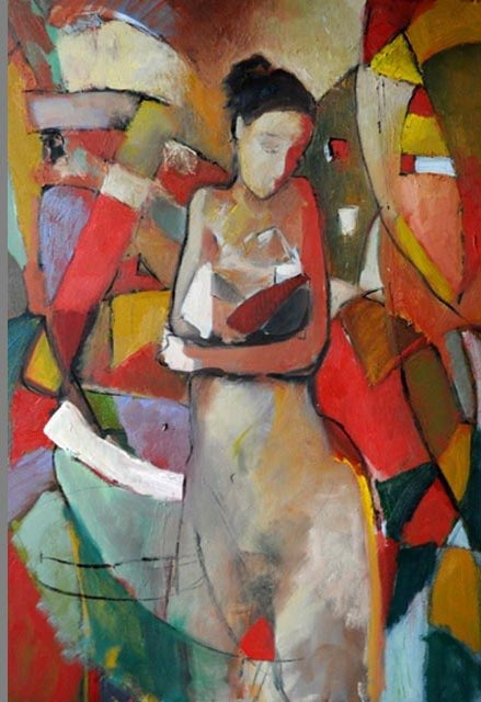 """Woman with baby. Oil on canvas, 24"""" x 36"""". 2012. Private collection."""
