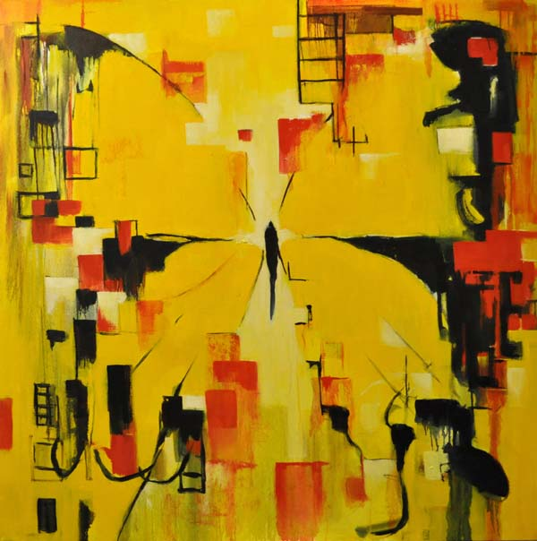 """Yellow city. Oil on canvas, 48"""" x 48"""". 2015. Private collection."""