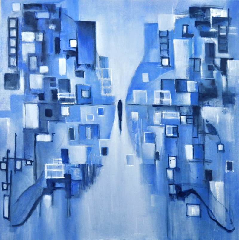 """My own mind is everything that I see....butterfly in blues. Oil on canvas, 36"""" x 36"""". 20`6"""