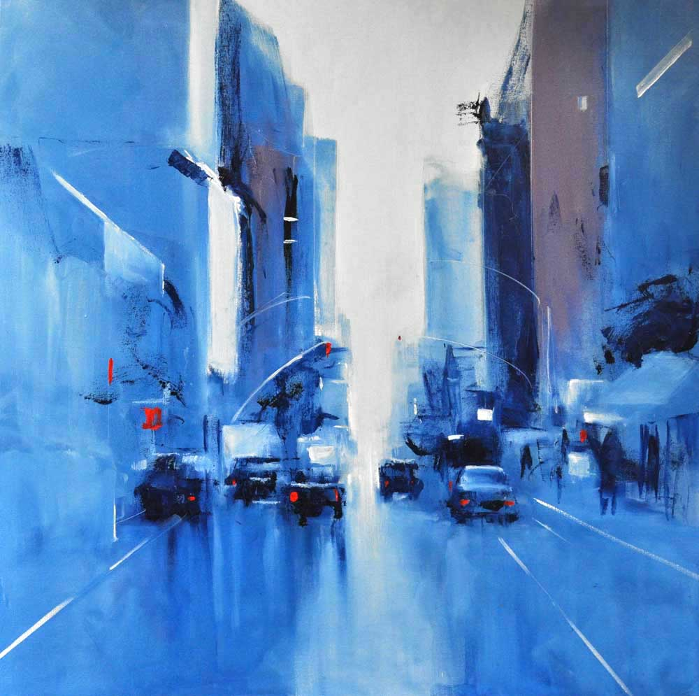 "Blue Manhattan. Oil on canvas, 36"" x 36"". 2017"