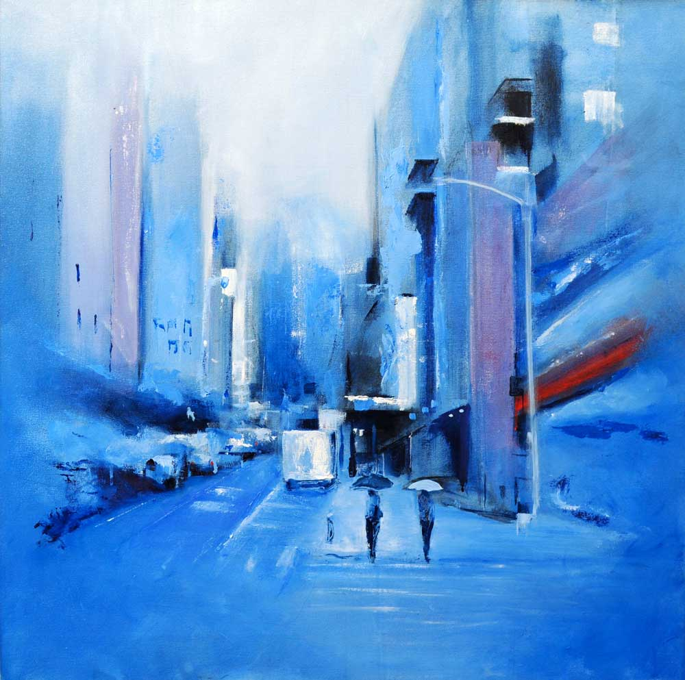 "Blue rain. Oil on canvas, 32"" x 32"". 2017"