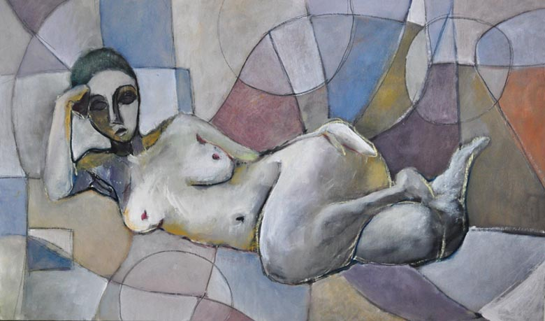 "Reclining. Oil on canvas, 24"" x 40"". 2011."