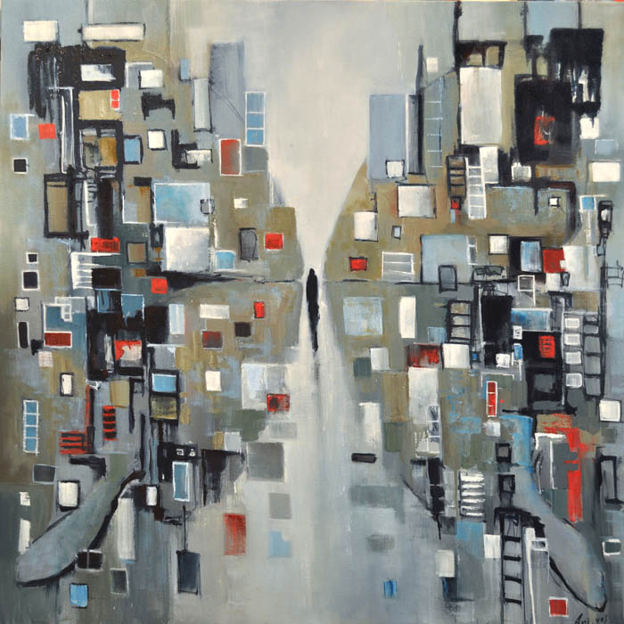 "I feel the city around me...we are one. Oil on canvas, 38"" x 38"". 2017"