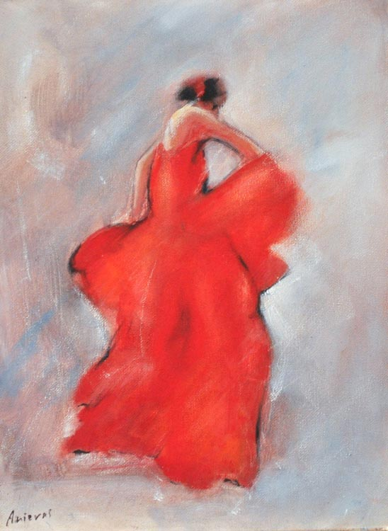 "Flamenco dancer XII. Oil on canvas, 12"" x 16 "". 2017"