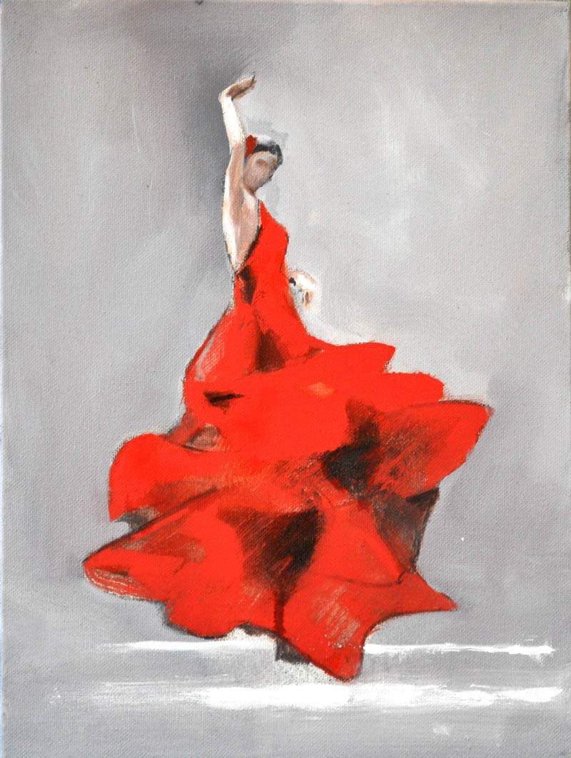 "Flamenco dancer XIII. Oil on canvas, 12"" x 16 "". 2017"