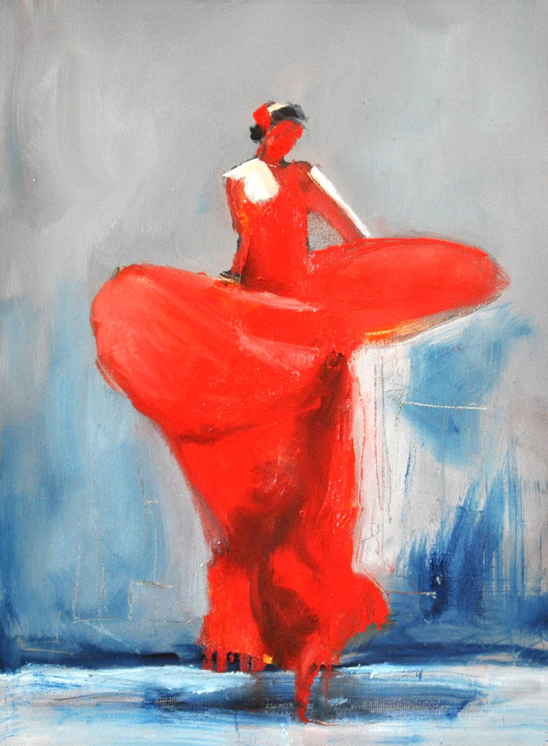 "Flamenco dancer XI. Oil on canvas, 12"" x 16 "". 2017"