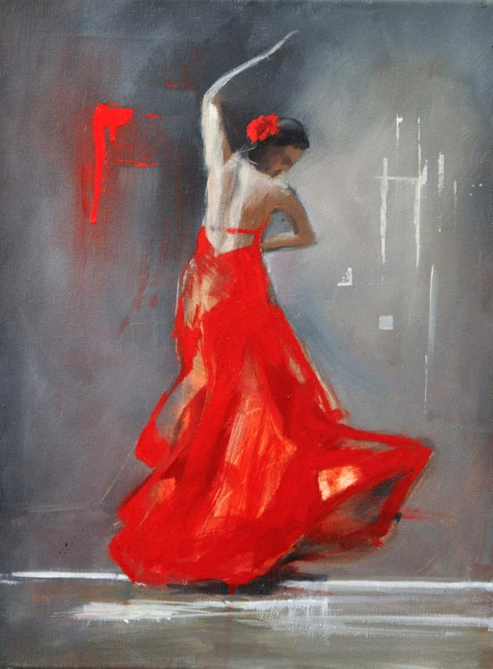 "Flamenco dancer X. Oil on canvas, 12"" x 16 "". 2017"