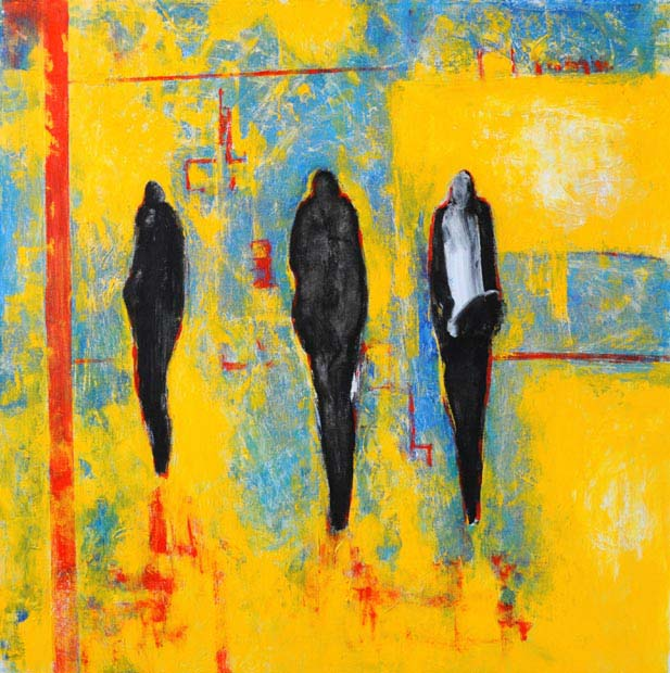 "On yellow blue and red. Acrylic on canvas, 24"" x 24"". 2012"