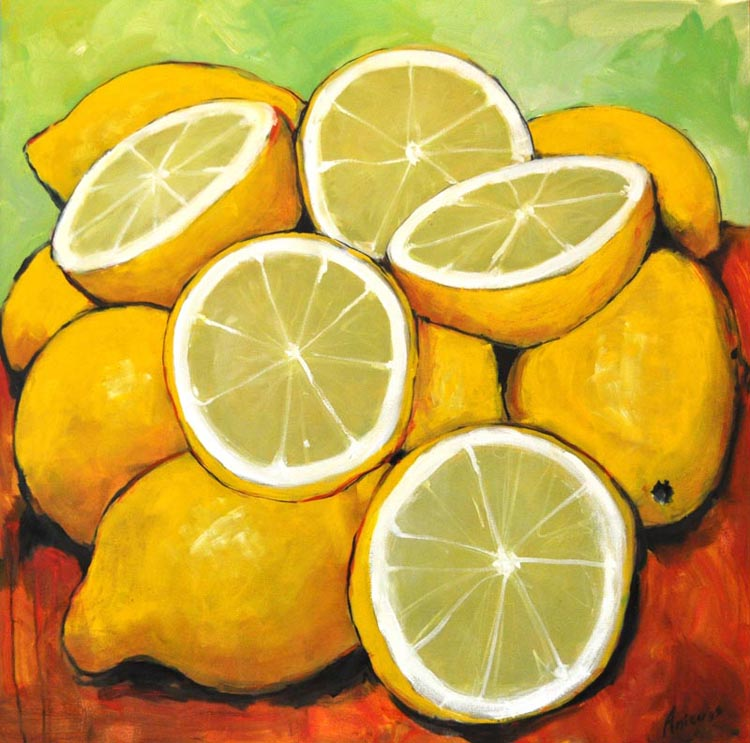 "Lemons. Oil on canvas, 36"" x 36"". 2017"