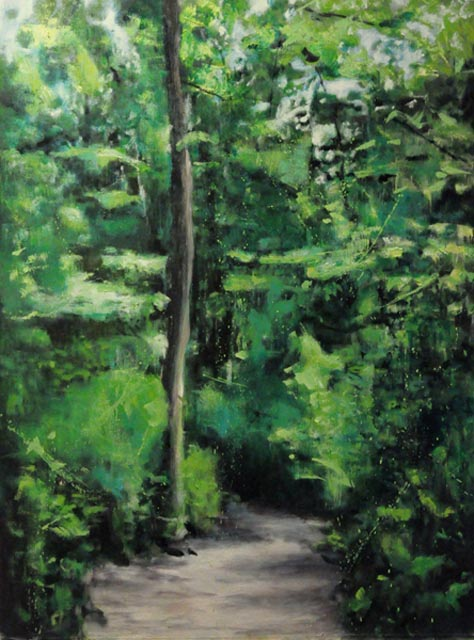 "Green passway.Oil on canvas, 30"" x 40"". 2012"